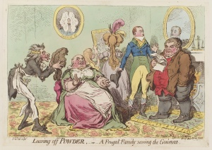 Leaving_off_powder,_-_or_-_a_frugal_family_saving_the_guinea_by_James_Gillray
