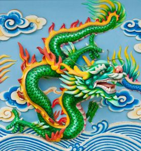 Chinese green dragon flying